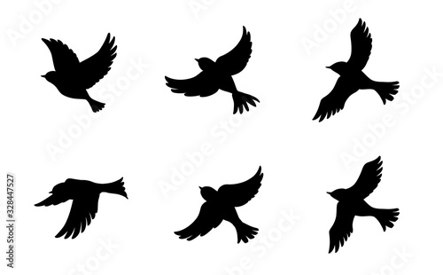 Fototapeta 飛ぶ鳥のシルエットセット obraz