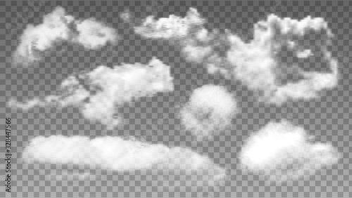 Valokuvatapetti Fluffy Flying Sky Air Clouds Collection Set Vector