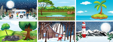 Different Scenes Of Nature In ...