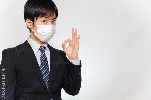 マスクをした男性 マル OKサイン Canvas Print
