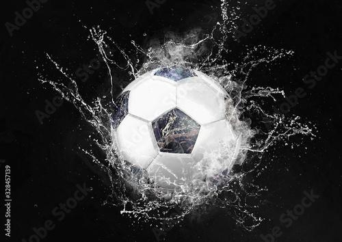 Fototapety, obrazy: 水しぶきを上げる抽象的なサッカーボール