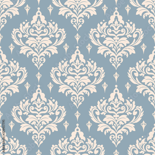 Photo Damask seamless pattern, wallpaper texture