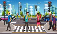 City Life, Crosswalk And Pedestrian Crossing Road