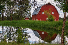 Red Barn On A Ranch In Central...