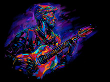 Musician With A Guitar. Rock G...