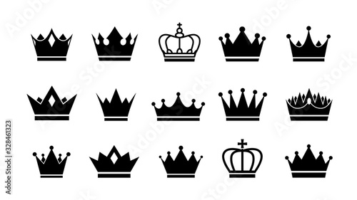 Fototapeta Crown logo. Vector flat crowns icons set collection.