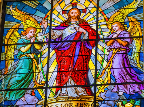 Coloful Jesus Archangels Stained Glass Puebla Cathedral Mexico Canvas Print