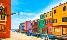 Burano Island Canal, Colorful ...