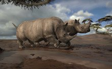 Two Rhinos Walking Together On Mud Together 3d Rendering