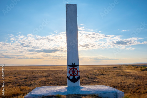 White stella in a steppe against sun and cloudy blue sky. Canvas Print