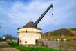 canvas print picture - Historischer Kran am Rhein in Andernach