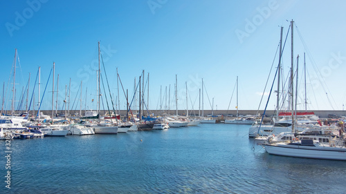 Tranquil sports marina with 344 berths for large yachts and vessels, popular amo Canvas Print