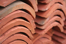 Close-up Of Old Red Roof Tiles...