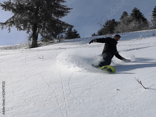 Fotografie, Tablou snowboard en poudreuse