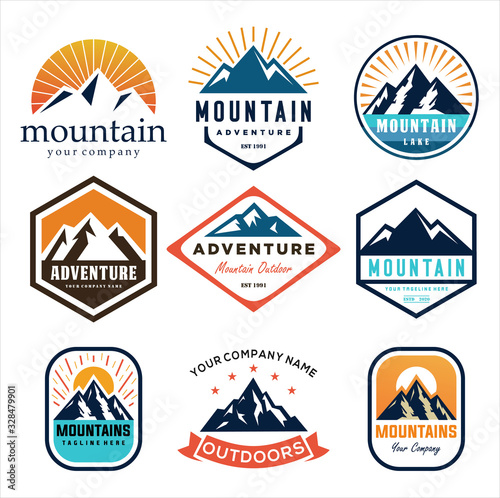 Photo Set Of Mountain and Sea for Outdoor Adventure Emblem Logo design inspiration Hik