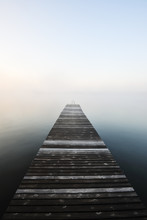 Wooden Jetty In Misty Water, Y...