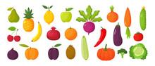 Set Of Juicy Fruits And Vegeta...