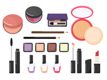 Set Of Cosmetics In Cartoon Flat Style. Vector Isolates On A White Background