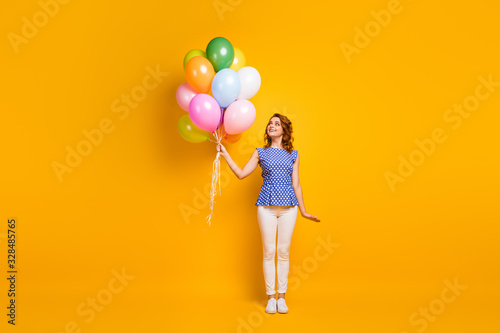 Full size photo of funny attractive lady hold many colorful air balloons surpris Wallpaper Mural