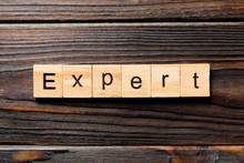 Expert Word Written On Wood Bl...