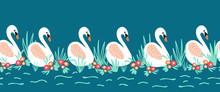 Swans Seamless Vector Border. ...