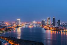Da Nang City Skyline Cityscape At Han River At Twilight In Da Nang, Central Vietnam