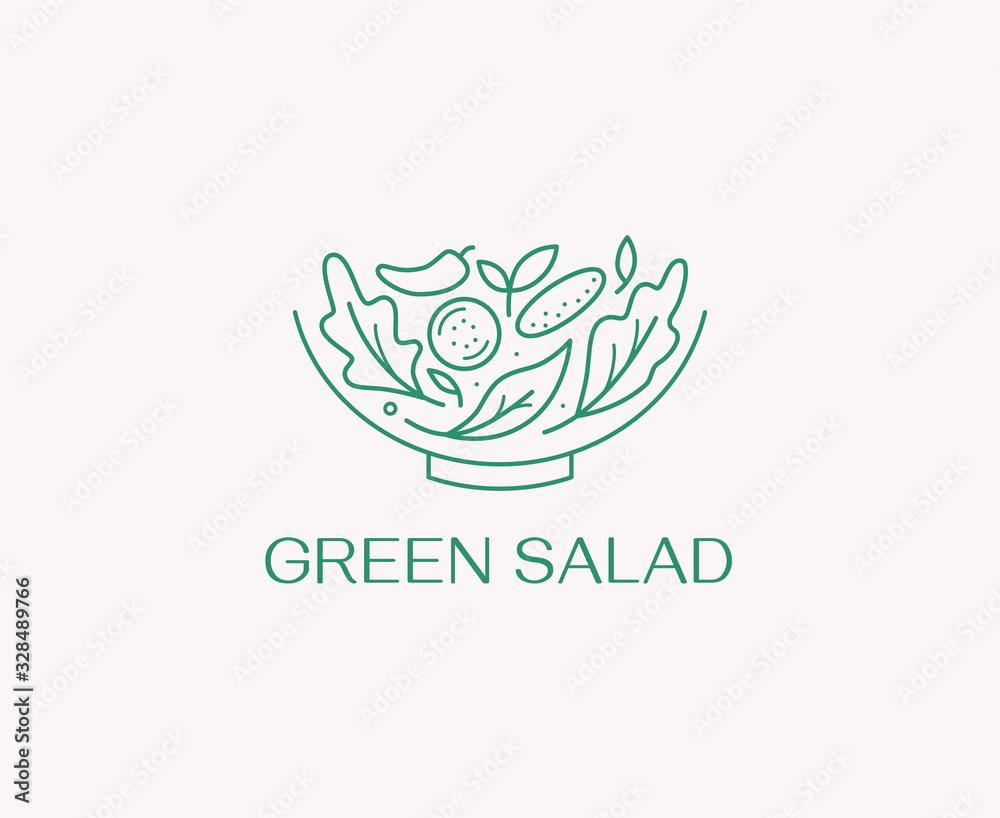 Fototapeta Vector logo design template in simple linear style - green salad emblem - healthy fresh food sign