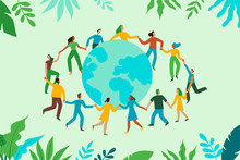 Vector Illustration In Flat Cartoon Simple Style With Characters - Recycling And Ecology Concept - People Dancing Together Holding Hands And Green Planet