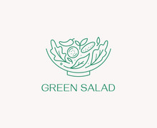 Vector Logo Design Template In Simple Linear Style - Green Salad Emblem - Healthy Fresh Food Sign