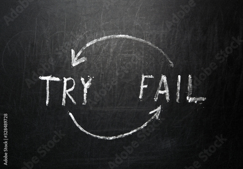 Try and Fail Iteration Handwritten on black chalkboard Canvas Print