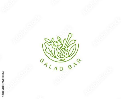 Fotografia Vector logo design template in simple linear style - green salad emblem - health