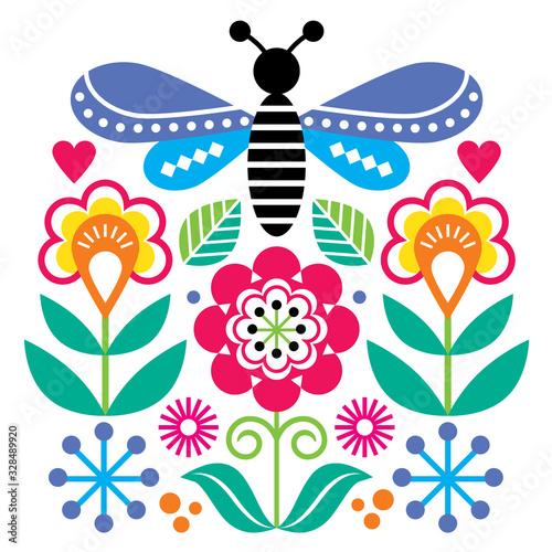 Fotografija Scandinavian folk art style flowers and insect vector design, cute graden floral