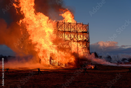 Fotografie, Tablou Building in inferno of flames