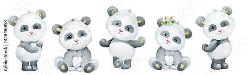 Tela Pandas, cute, different body position