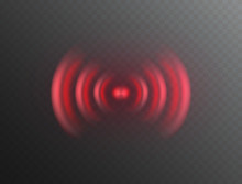 Alarm Sign Isolated On Transparent Background. Vector Pain Wave Icon. Red 3d Fire Evacuation Siren Or Sound Alert Safety System..