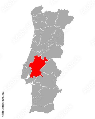 Karte von Santarem in Portugal Tapéta, Fotótapéta