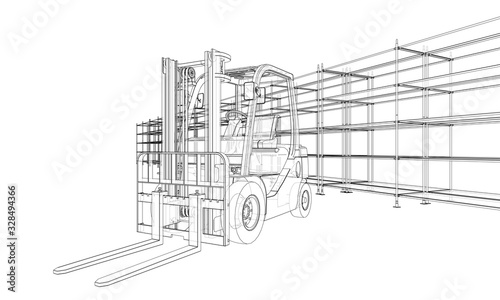 Fototapeta Warehouse shelves and forklift. Vector obraz na płótnie