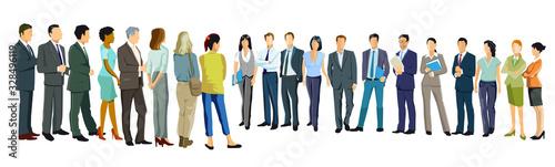 eine Gruppe von Geschäftsleuten stehen sich gegenüber
