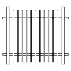 black and white fence icon on white background
