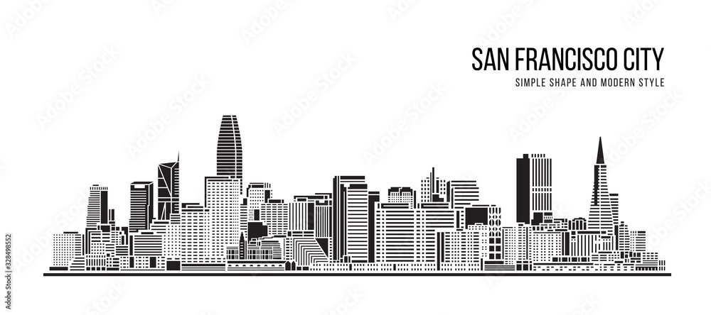 Fototapeta Cityscape Building Abstract Simple shape and modern style art Vector design - San francisco city
