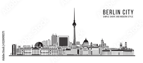 Cityscape Building Abstract Simple shape and modern style art Vector design - Be Wallpaper Mural