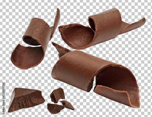 Fotografie, Obraz Chocolate curls, parts, pieces or chips on isolated background including clippin