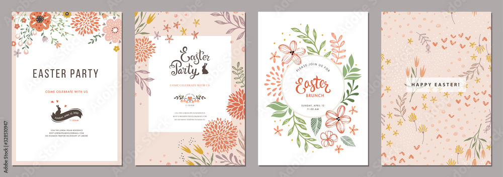 Fototapeta Trendy floral Easter templates. Good for poster, card, invitation, flyer, cover, banner, placard, brochure and other graphic design.