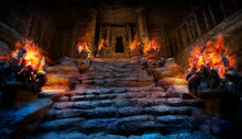Mystical Ancient Temple With Steps Made Of Stone, On The Sides Of The Stairs Are Altars With A Bright Red Fire, The Entrance To The Temple Is Surrounded By Columns, It Is Dark Inside . 2D