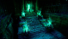 Mystical Ancient Temple With Steps Made Of Stone, On The Sides Of The Stairs Are Altars With A Bright Burning Green Fire, At The Entrance To The Temple A Glowing Passage Near Which Stands The Wizard .
