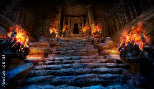Fotografie, Obraz Mystical ancient temple with steps made of stone, on the sides of the stairs are altars with a bright red fire, the entrance to the temple is surrounded by columns, it is dark inside