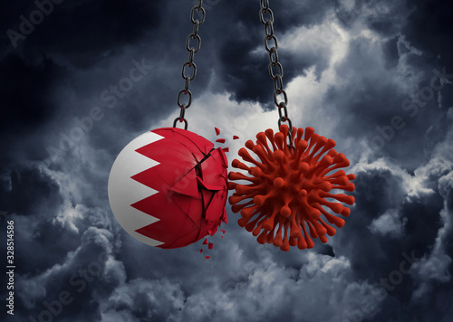 Virus microbe smashing into Bahrain flag ball. 3D Render Canvas Print