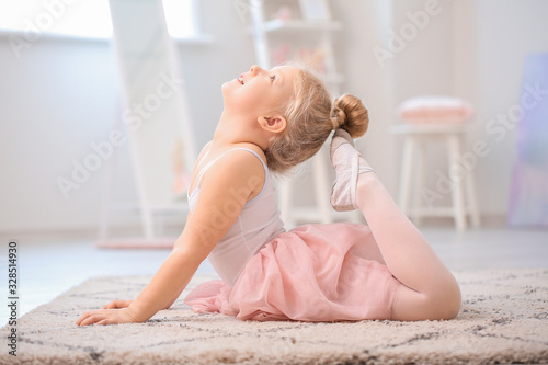 Fotografie, Obraz Cute little ballerina at home
