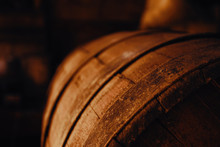 Beer Barrel Close-up. Oak Barrel Texture