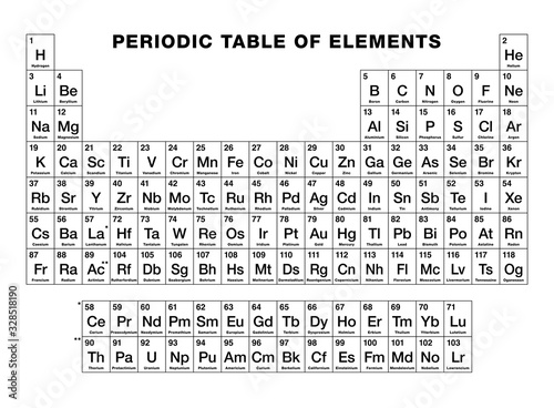 Fotografering Periodic table of elements, black and white